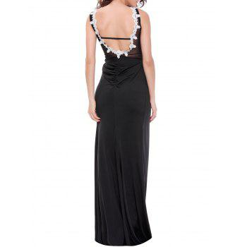 Sequined See-Through Backless Prom Maxi Dress - WHITE XL