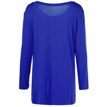 Plus Size Inclined Buttoned Blouse - BLUE XL