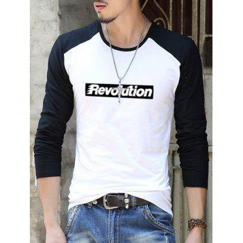 Contrast Sleeve Letter Printed T-Shirt - WHITE/BLACK L