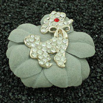 Rhinestone Bowknot Poodle Floral Brooch - LIGHT GREEN