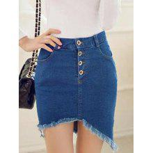 Frayed Asymmetric Slim Denim Skirt