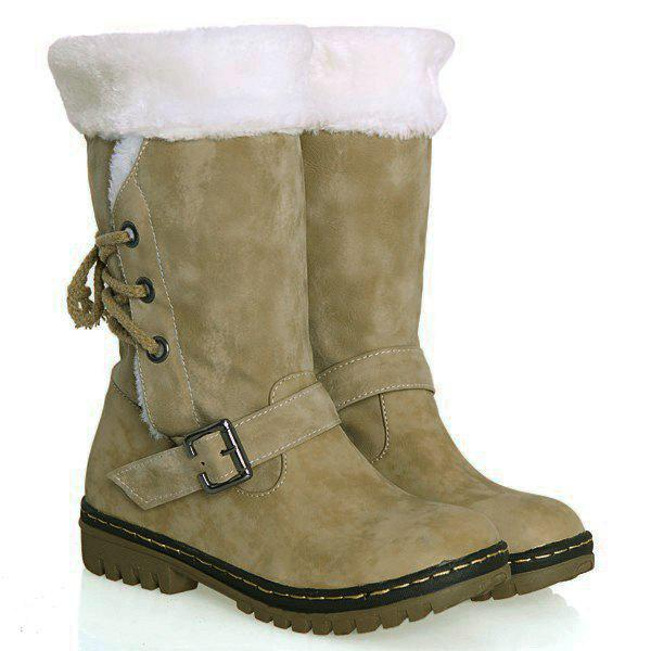 College Style Buckle Strap and PU Leather Design Snow Boots For Women - KHAKI 36
