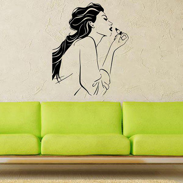 Waterproof Removable Belle Carved Art Wall Stickers - BLACK