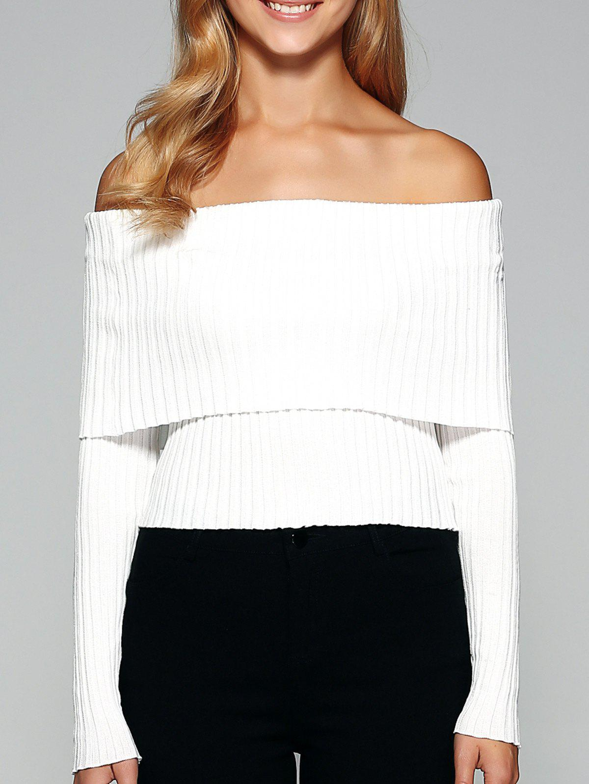 Foldover Off The Shoulder Sweater skull off the shoulder tunic sweater