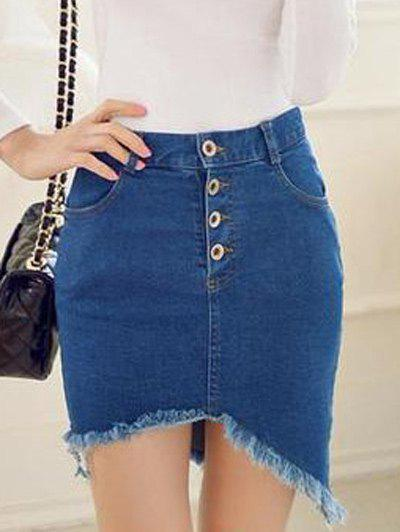 Frayed Asymmetric Slim Denim SkirtWomen<br><br><br>Size: M<br>Color: DENIM BLUE
