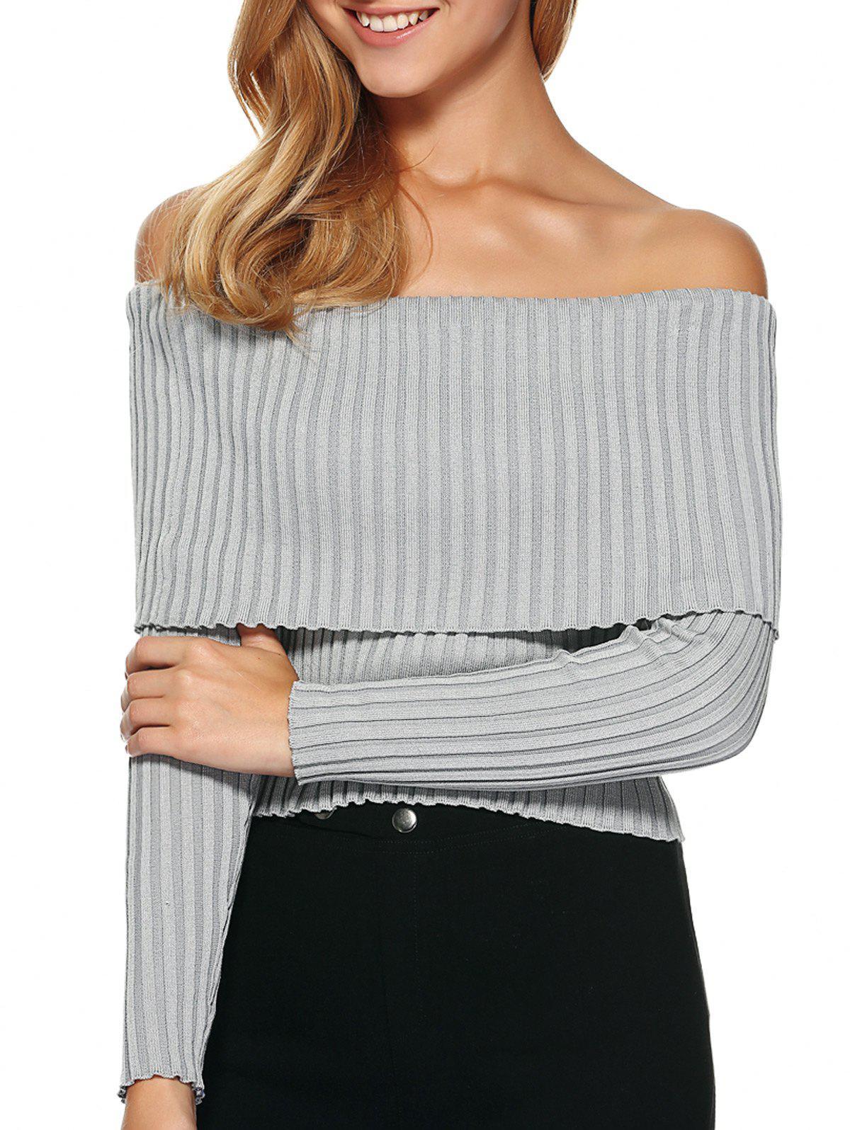 Foldover Off The Sweater épaule - Gris M