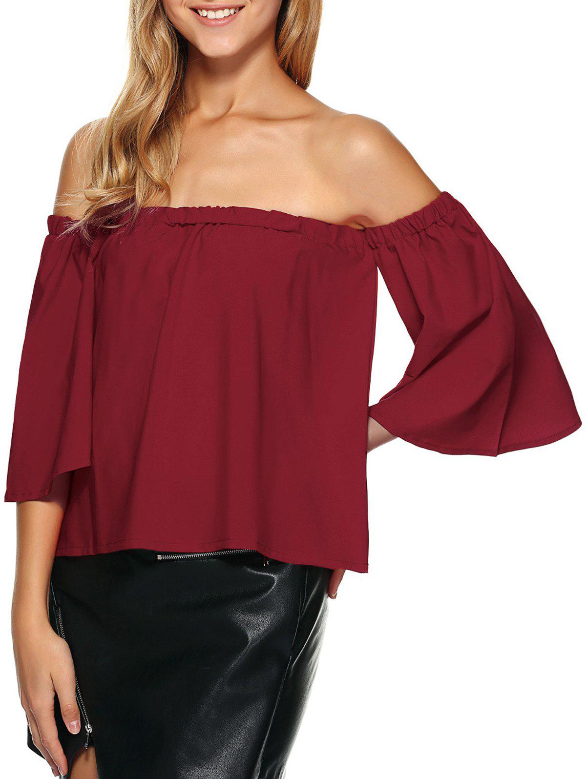 Off The Shoulder Ruffle Top - Rouge vineux S