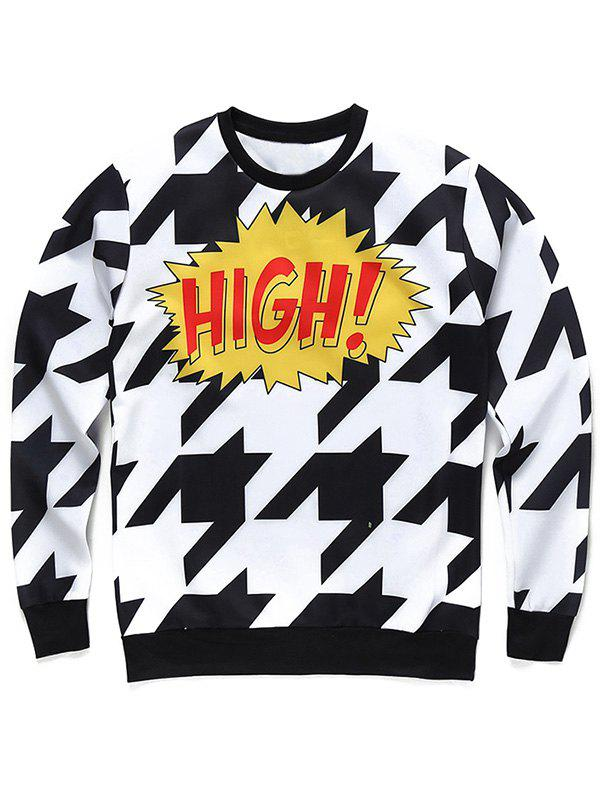 Crew Neck Long Sleeve 3D Houndstooth and Letter Print Sweatshirt - COLORMIX L