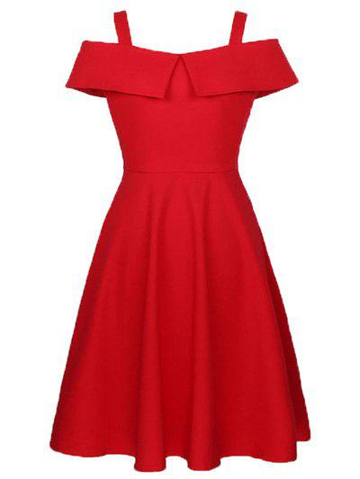 Cami Flounce Ruffles Cold Shoulder Dress - RED 2XL