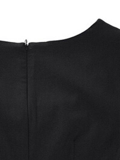 Encolure carrée bowknot Puffball Robe - Noir 2XL