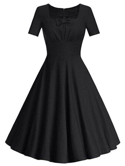 Encolure carrée bowknot Puffball Robe - Noir XL