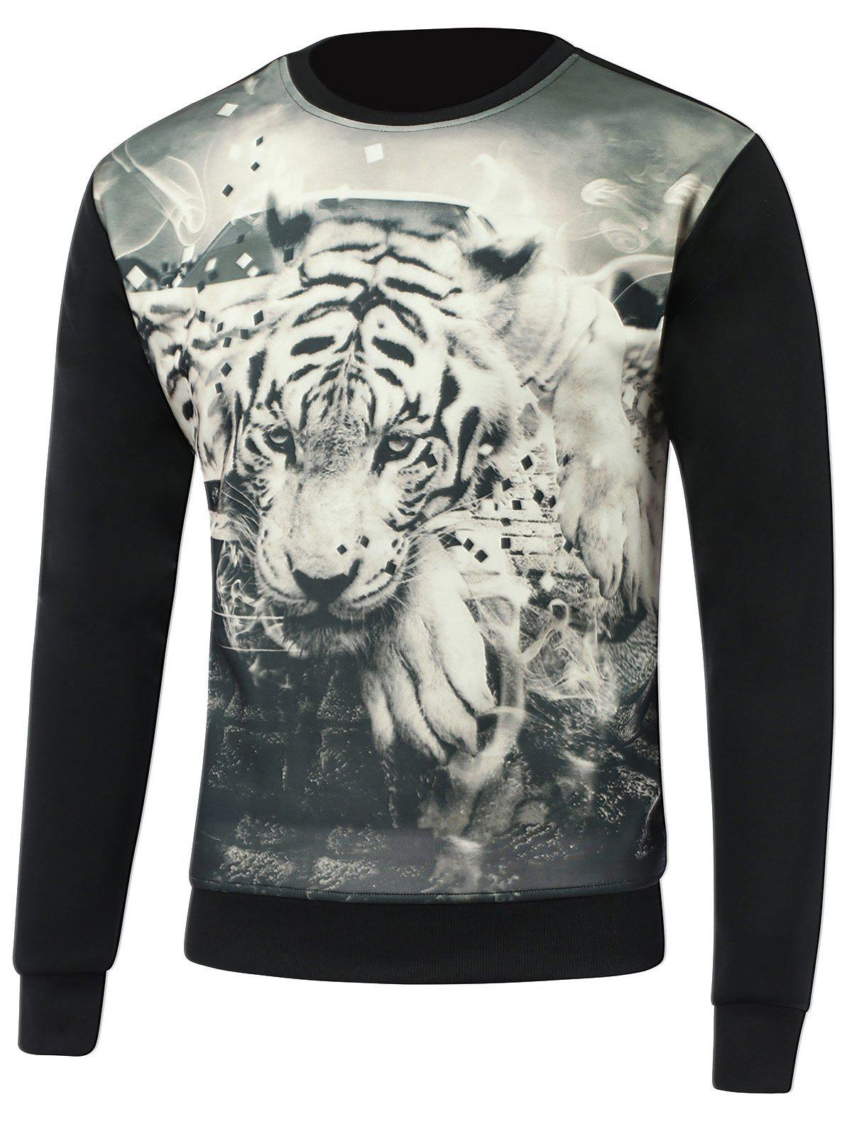 3D Tiger Print Round Neck Long Sleeve Sweatshirt round neck long sleeve 3d coins print sweatshirt