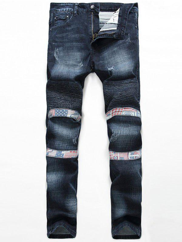 Insert Zipper Fly Straight Leg Scratched Pintuck Jeans rivet embellished scratched zipper fly jeans