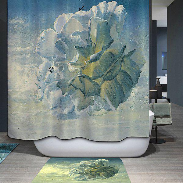 Mouldproof Waterproof Flower Type Printed Shower Curtain waterproof mouldproof love birds printed shower curtain