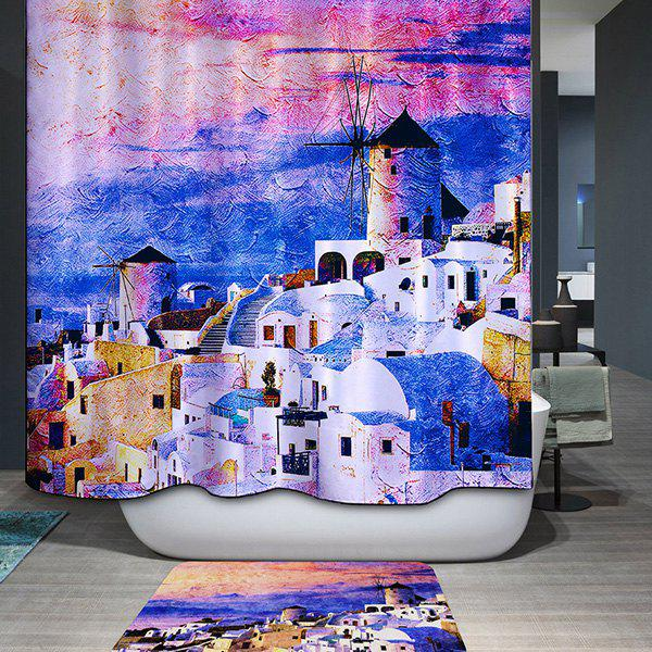 Mouldproof Waterproof Castles Printed Shower Curtain - COLORMIX