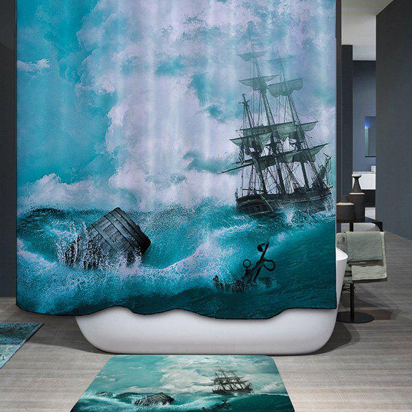Mouldproof Waterproof Sail Ship Printed Shower Curtain - COLORMIX