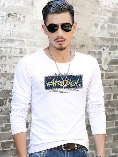 Brief Style T-Shirt with Graphic Print - WHITE XL