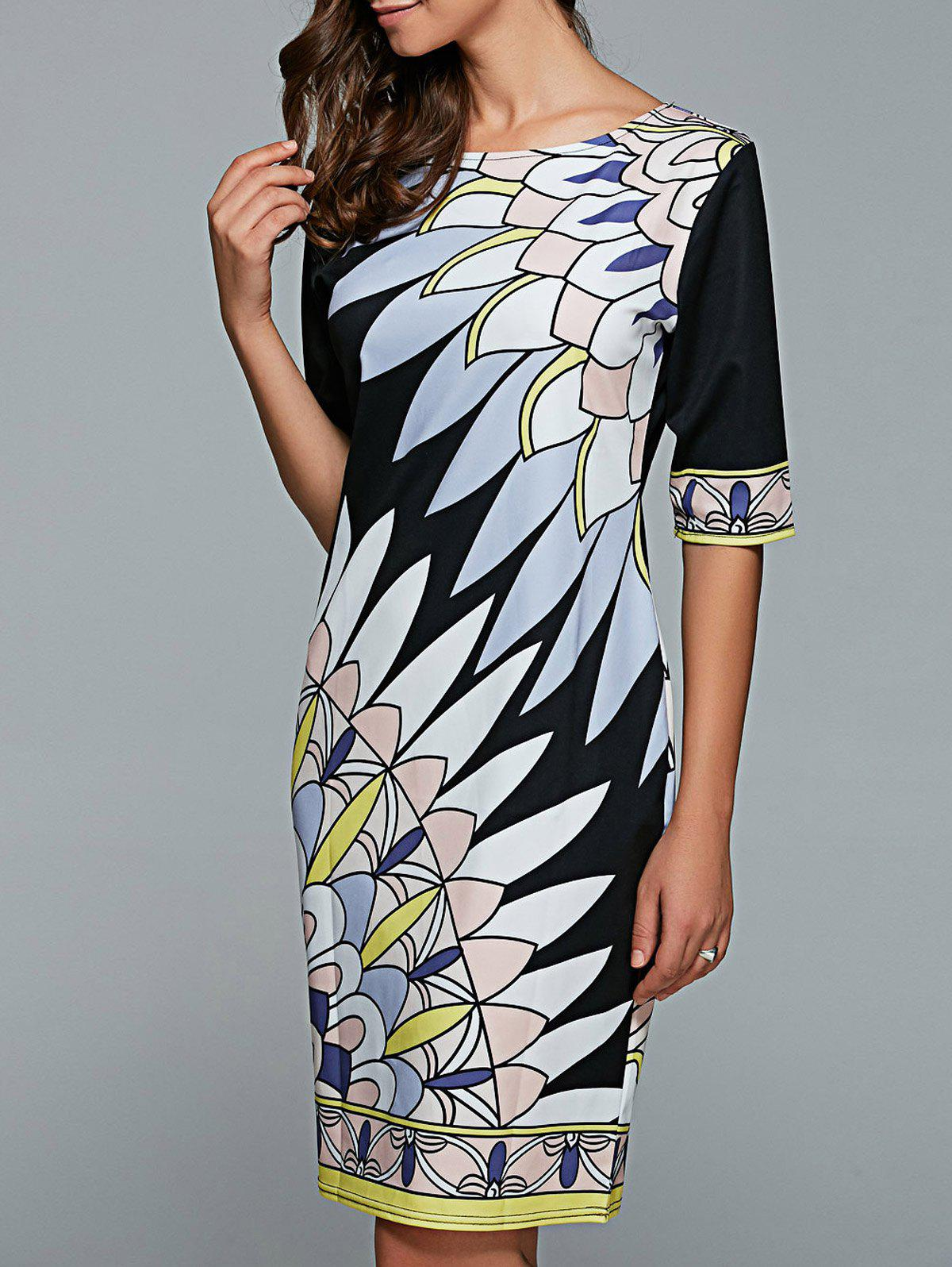 Printed Straight Dress - BLACK S