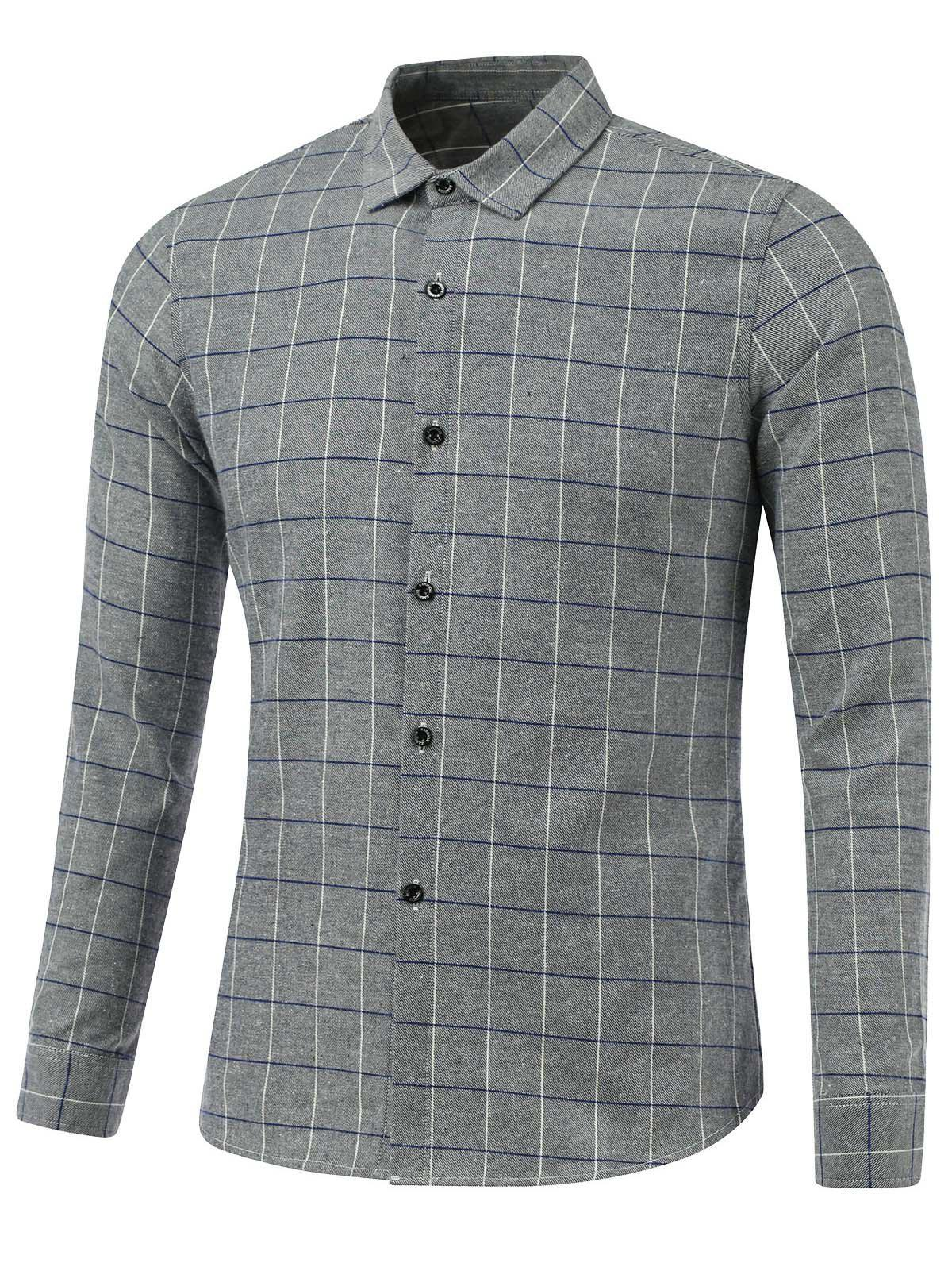 Checked Print Turn-Down Collar Long Sleeve Shirt - GRAY 3XL