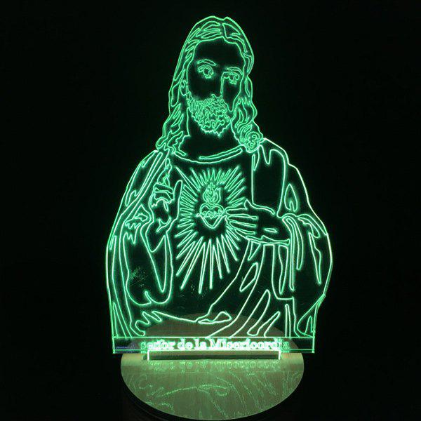 Creative Changeable Remote Control 3D Jesus Shape LED Night Light - COLORMIX