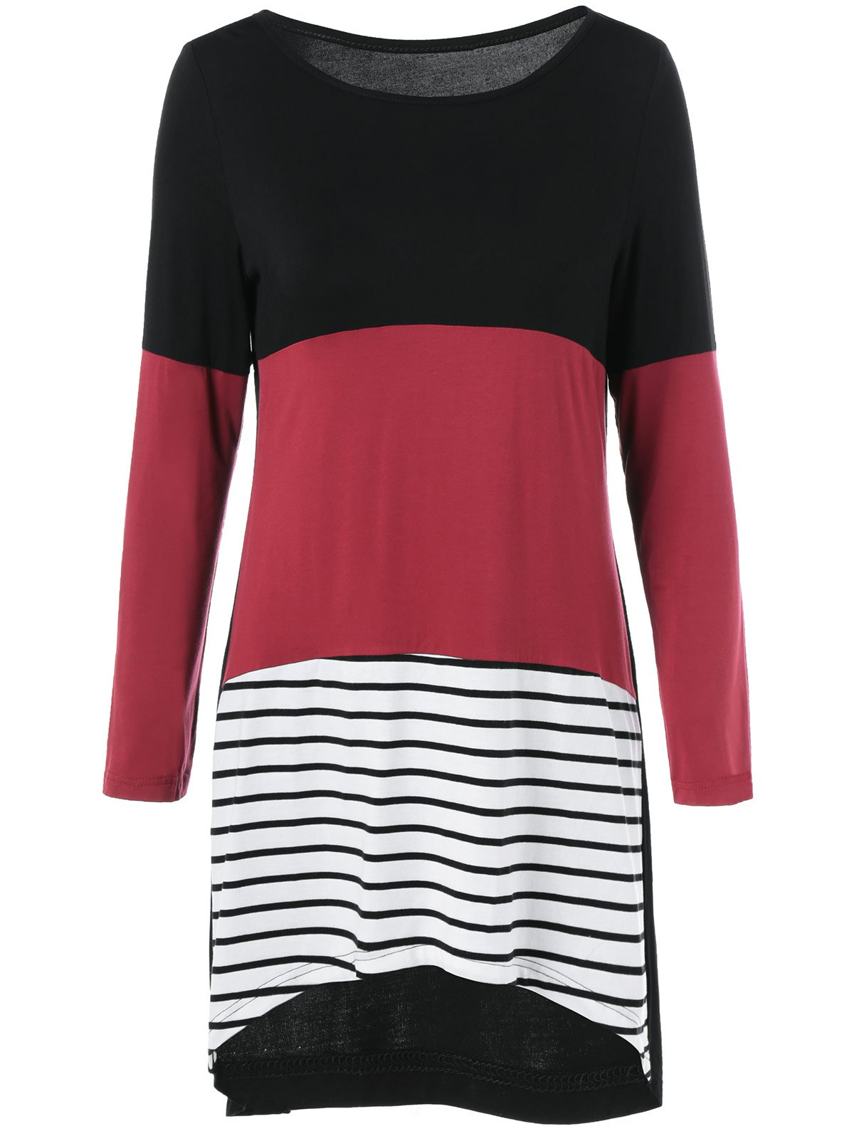 Buy Striped Spliced High Low Hem Dress BLACK/WHITE/RED