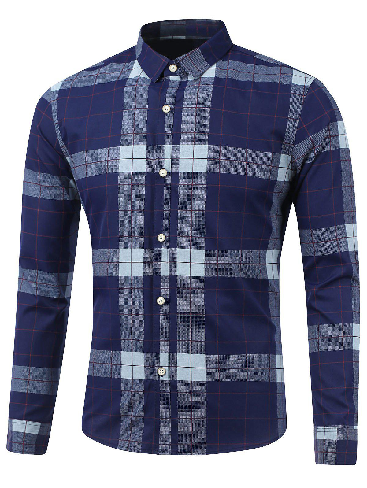 Plaid Long Sleeve Button Down Flannel Shirt - SAPPHIRE BLUE XL