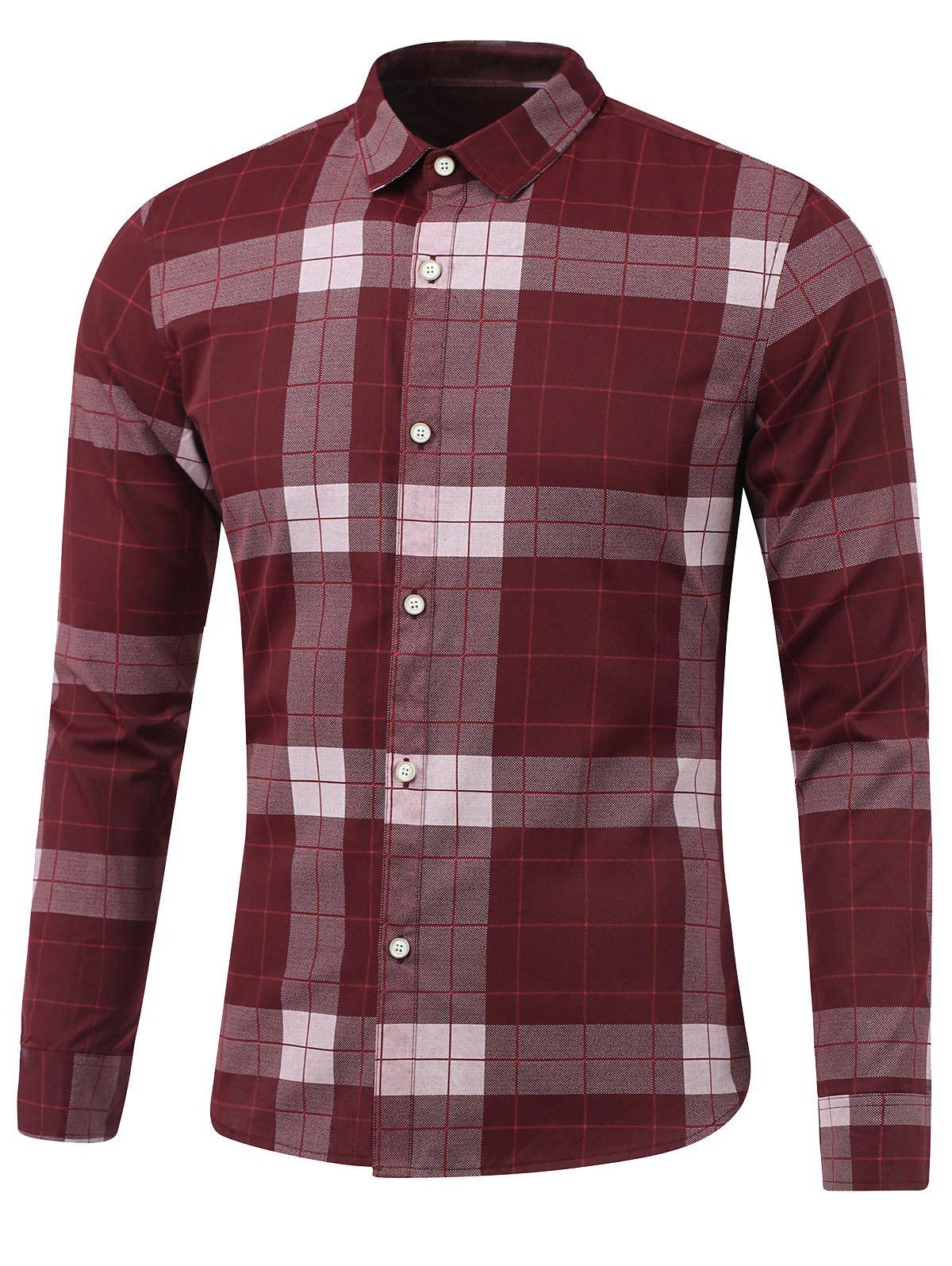 Plaid Long Sleeve Button Down Flannel Shirt - WINE RED L