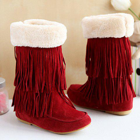 Suede Hidden Wedge Fringe Boots - DEEP RED 37