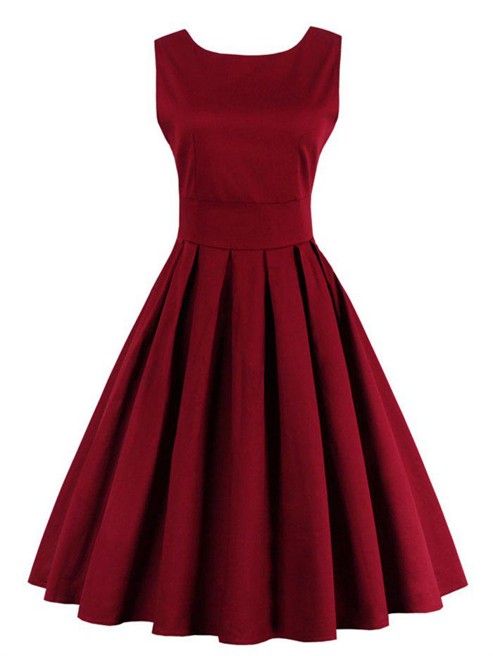 Zipper Fit and Flare Dress - WINE RED S