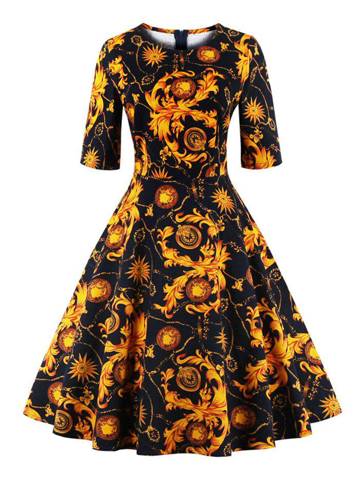 Print Fit and Flare Dress - YELLOW XL