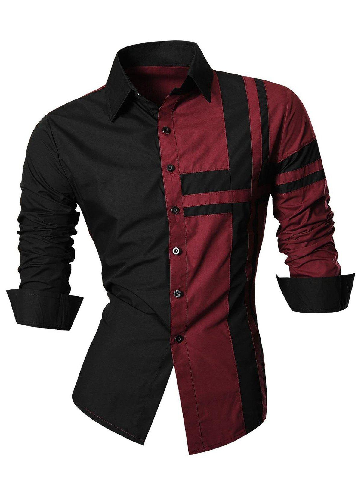 Cross Striped Long Sleeve Color Block Shirt - WINE RED M