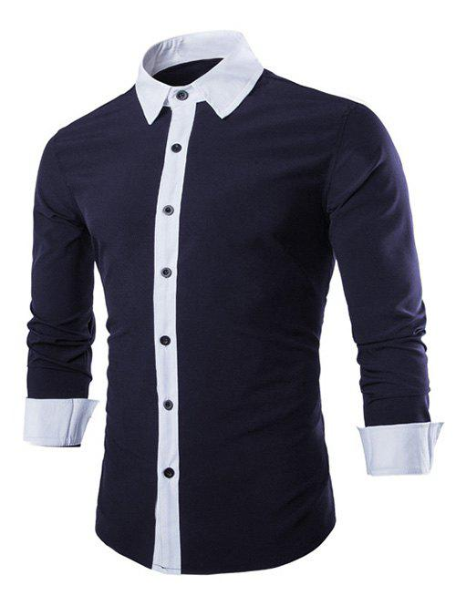 Contrast Collar Long Sleeve Color Block Shirt - CADETBLUE M