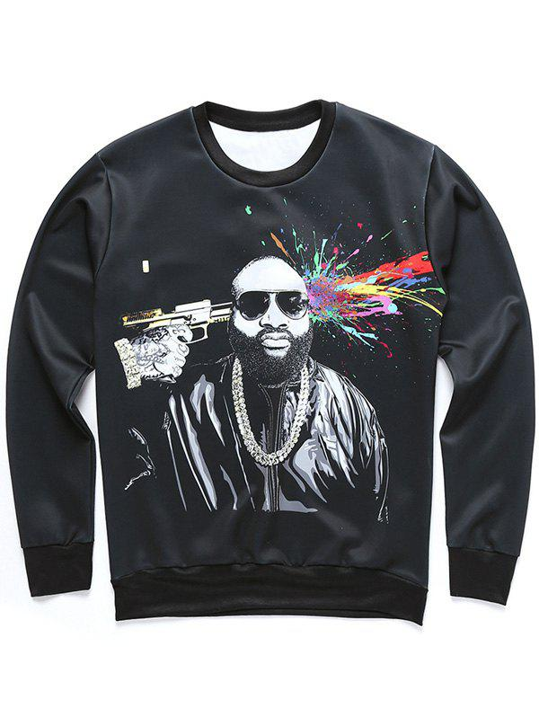 Long Sleeve Figure and Splatter Paint Print Sweatshirt - BLACK L