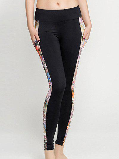 Flower Snake Print Spliced Yoga Leggings - ORANGEPINK XL