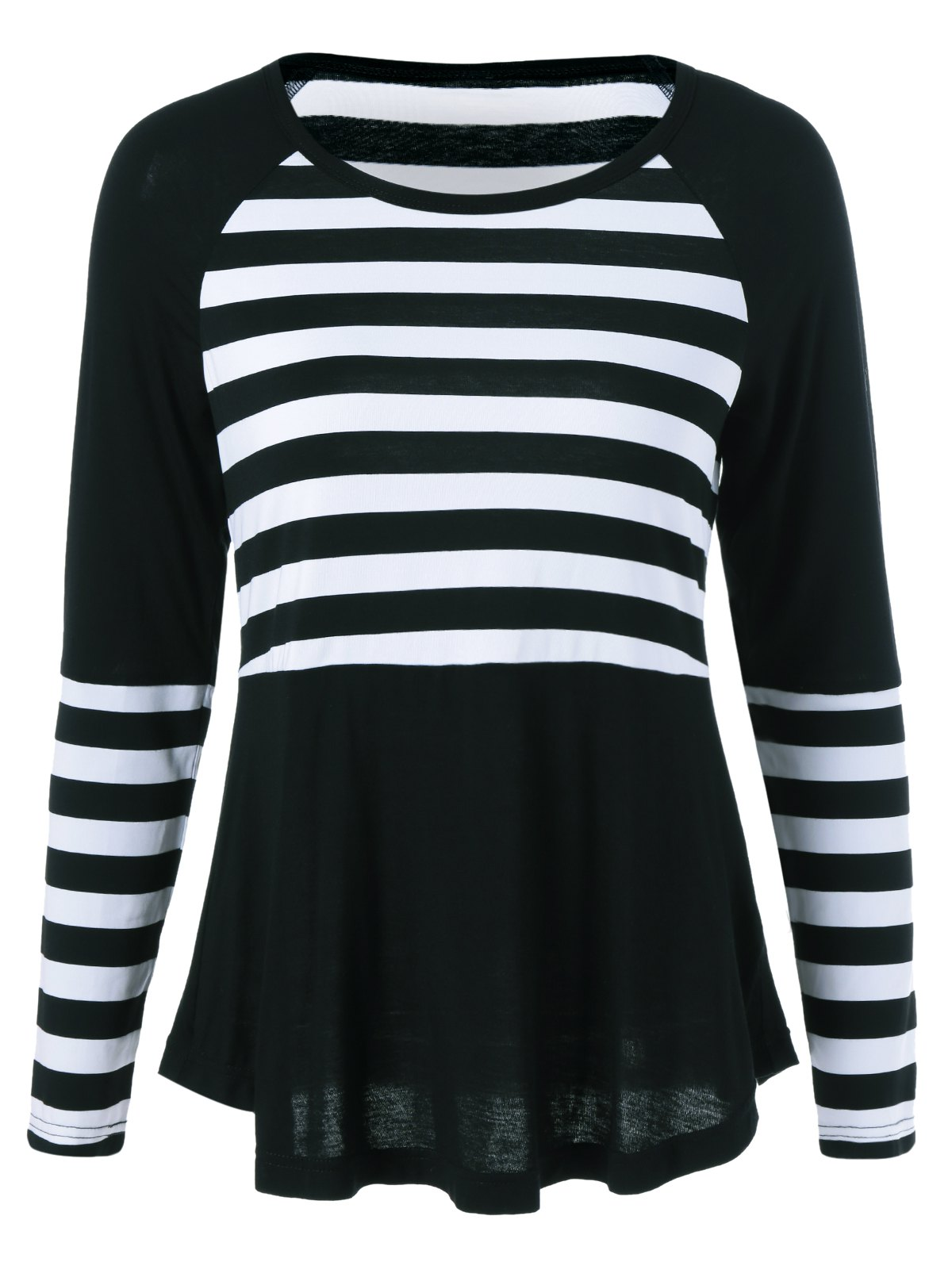 Raglan Sleeve Striped Spliced ​​T-shirt - Blanc et Noir XL