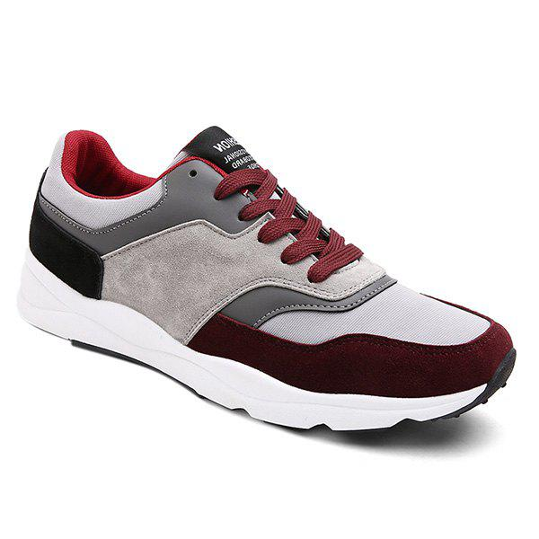 Tie Up Suede Color Block Athletic Shoes - WINE RED 40