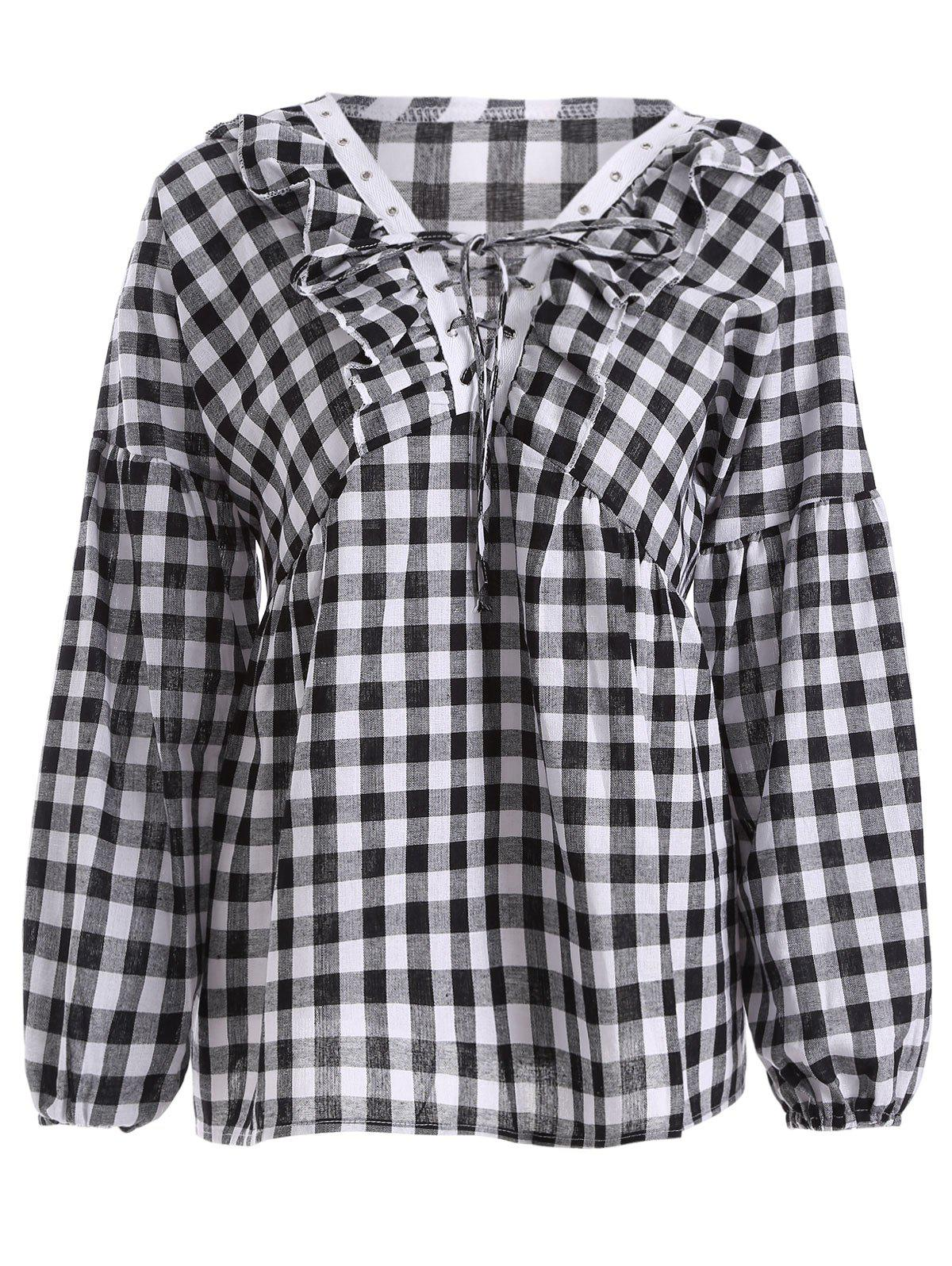 Puff Sleeve Plaid Lace-Up Blouse - Carré 3XL