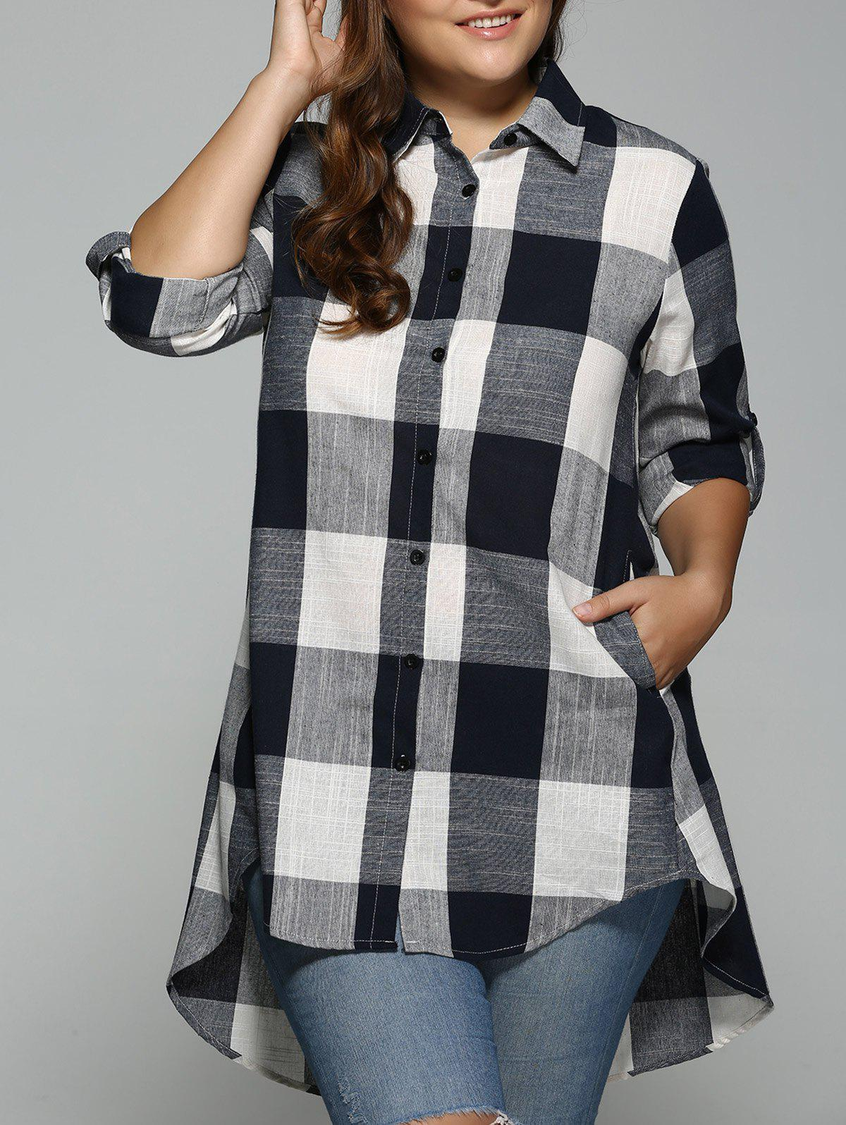 High Low Plus Size Long Plaid Boyfriend Shirt - PURPLISH BLUE 4XL