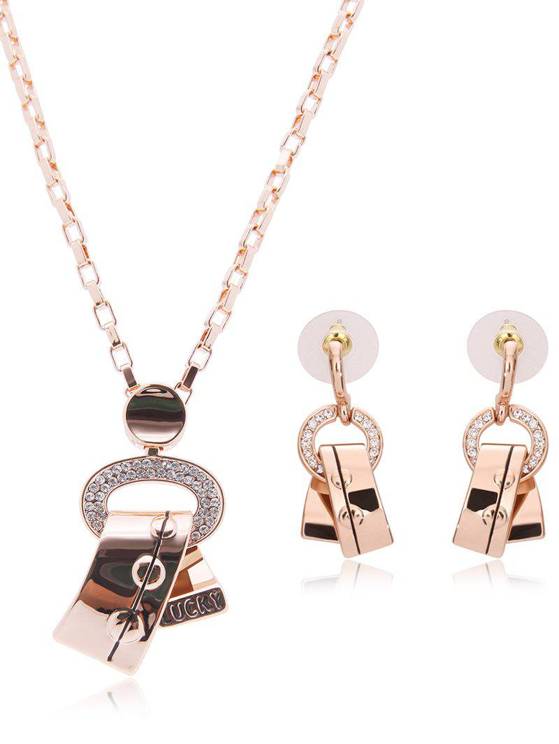Rhinestone Hollowed Alloy Ribbon Jewelry Set rhinestone alloy pendant jewelry set