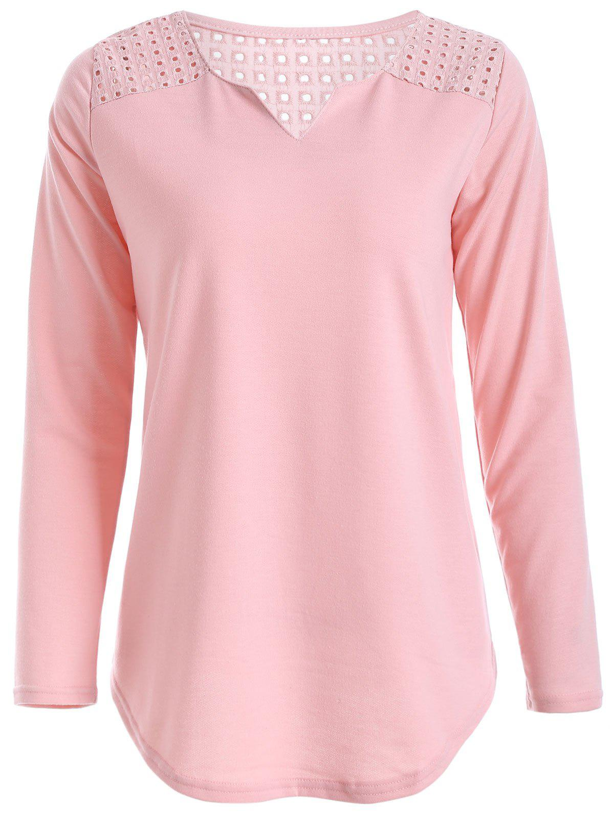 Retour Couper V Neck Out Tee - Rose Pâle L