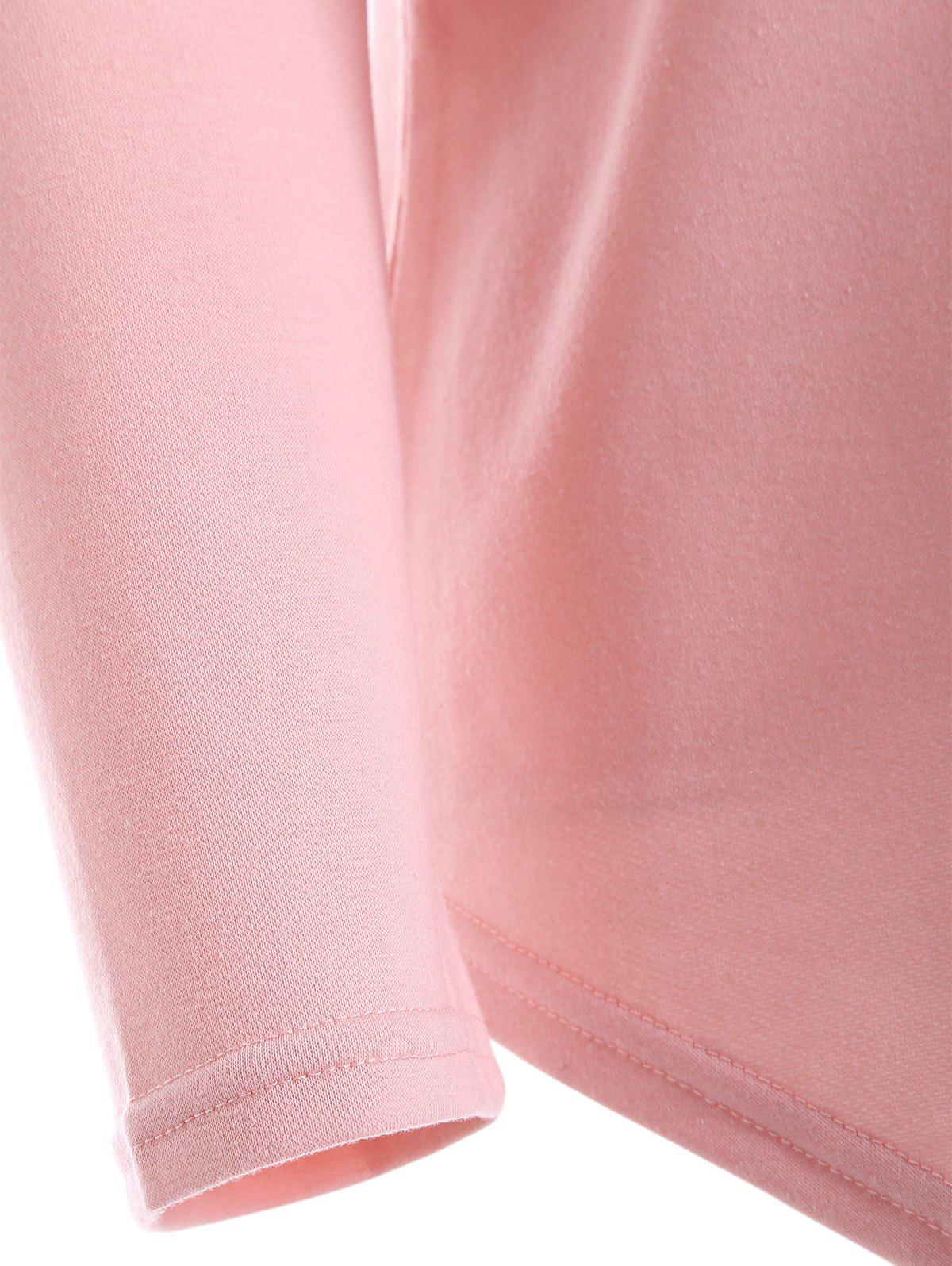 Back Cut V Neck Out Tee - PINK M