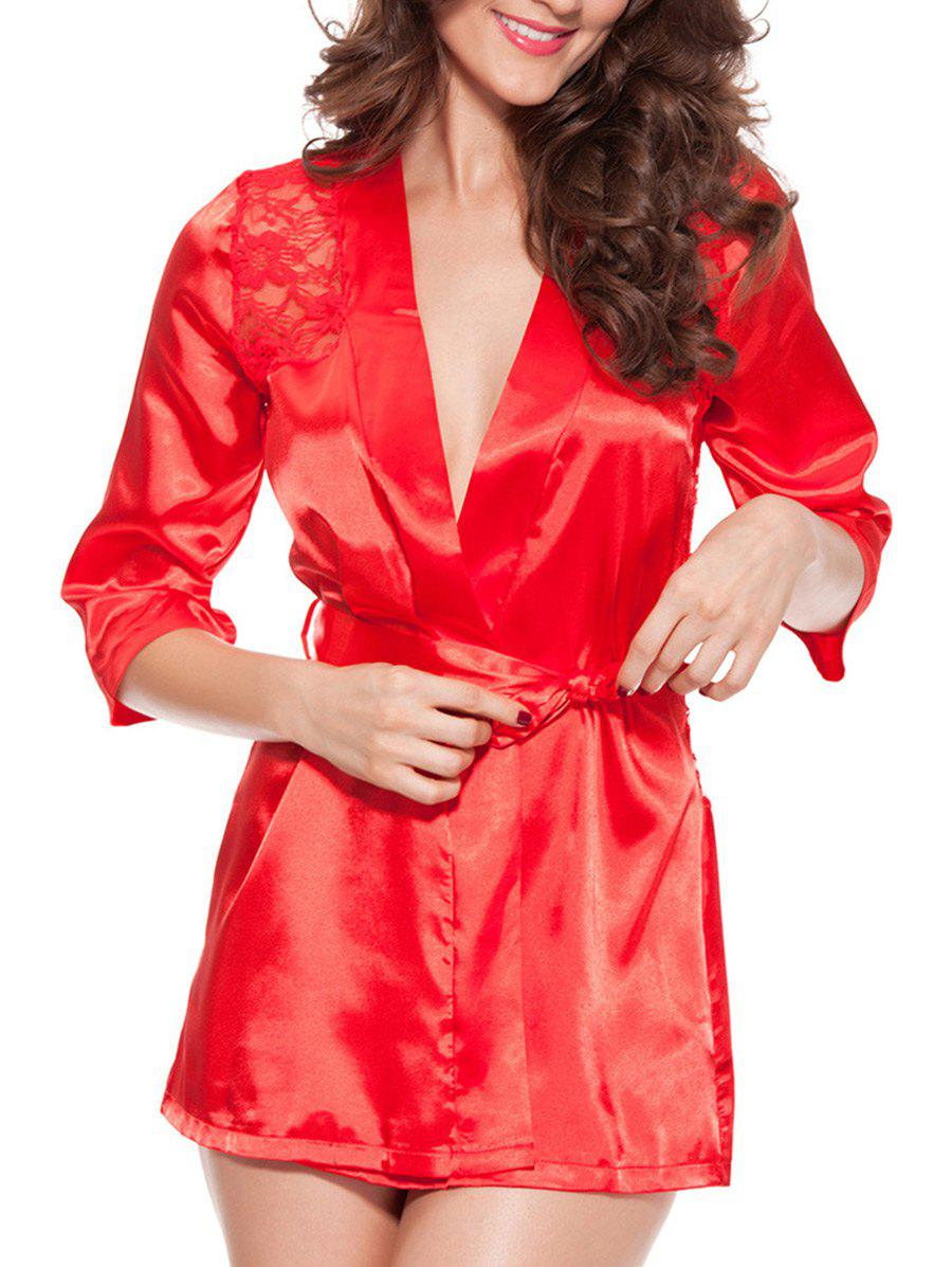 Lace Spliced ​​Wrap Cut Out Pyjamas - Rouge 2XL