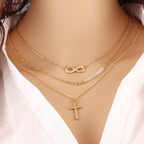 Infinity Beads Crucifix Layered Necklace - GOLDEN