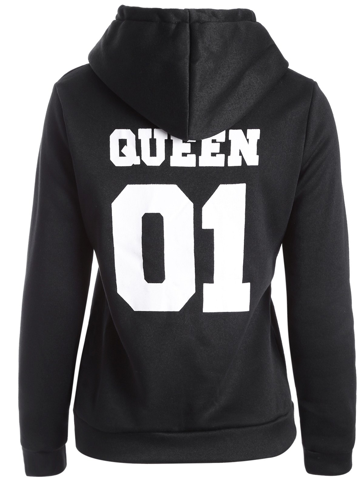 Flocking Letter Print HoodieWomen<br><br><br>Size: S<br>Color: BLACK