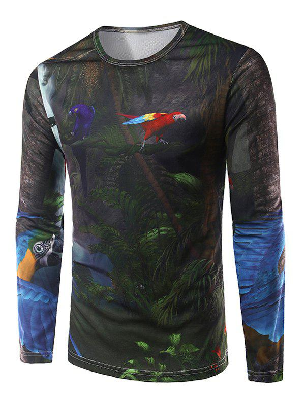Crew Neck Long Sleeve 3D Forest Parrot Print T-Shirt - COLORMIX XL