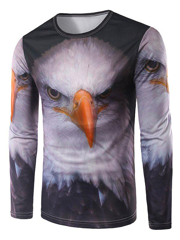Crew Neck Long Sleeve 3D Eagle Print T-Shirt - COLORMIX L