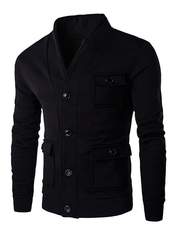 Long Sleeve Flap Patch Pocket Button Up Jacket - BLACK M
