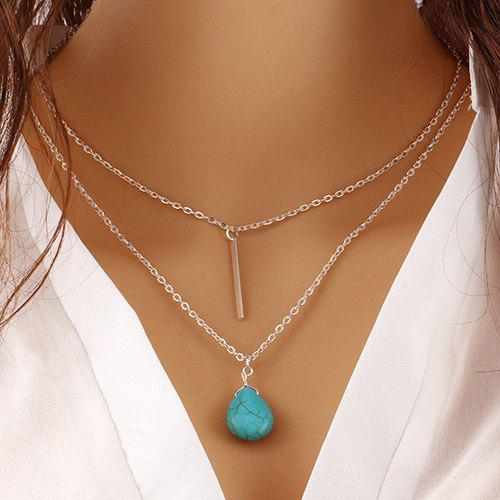 Faux Turquoise Water Drop Layered Bar Necklace