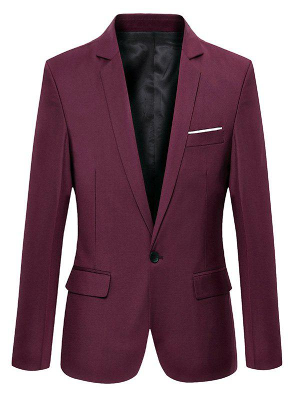 Lapel Collar Flap Pocket Slim Fit Blazer - WINE RED 3XL