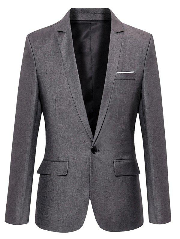 Lapel Collar Flap Pocket Slim Fit Blazer - GRAY L